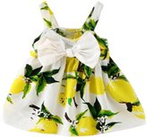 Coromose Lemon Printed Sleeveless Princess Gallus Dress