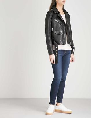 Whistles Agnes belted leather biker jacket