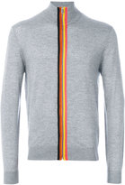 Paul Smith rainbow trim zip front sweater