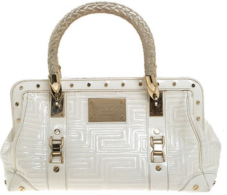 Gianni Versace Versace White Quilted Patent Leather Snap Out Of It Satchel