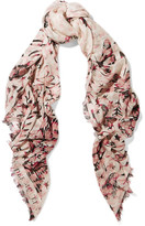 Alexander McQueen Printed Silk And Modal-blend Chiffon Scarf - Blush