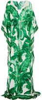 Dolce & Gabbana Printed Silk-chiffon Gown - Green