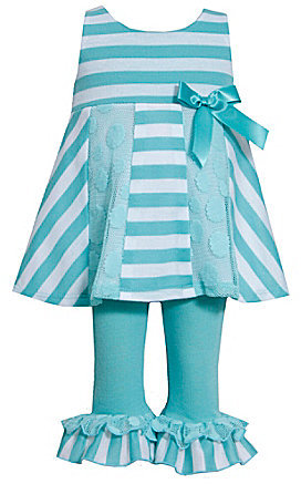Bonnie Baby 3-24 Months Striped French Terry/Lace Dress & Ruffle-Hem Pant Set