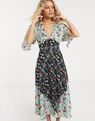 Topshop IDOL midi dress in mixed floral print