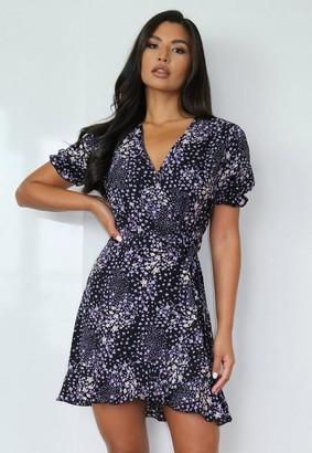 Missguided Black Floral Print Ruffle Hem Tea Dress