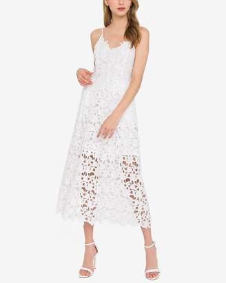 Express Endless Rose White Lace Cami Midi Dress