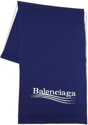 Balenciaga Logo Jacquard Cotton & Viscose Scarf
