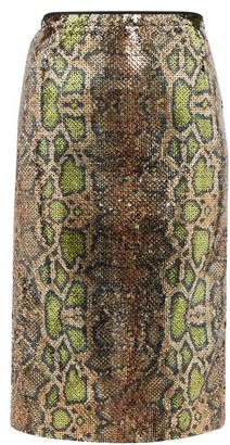No.21 No. 21 - Fantasia Sequinned Snake-pattern Pencil Skirt - Multi