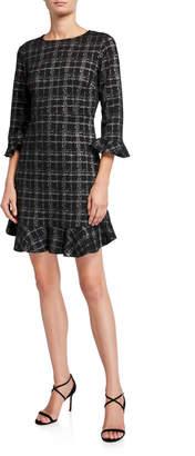 Nanette Lepore Nanette Flounce 3/4-Sleeve Plaid Dress