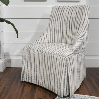 "Imagine Home 25"" W Cotton Armchair Fabric: Cotton Navy Dot Stripe"