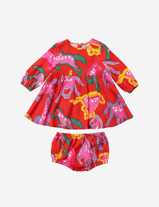 Stella McCartney Horse-print crepe dress and bloomers set 3-36 months