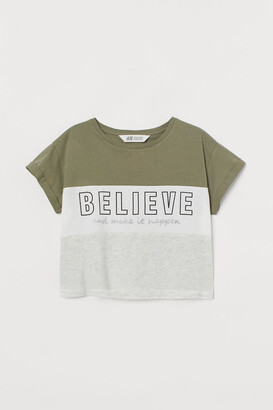 H&M Printed Jersey Top - Green