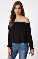 KENDALL + KYLIE Kendall & Kylie Long Sleeve Off-The-Shoulder Ruffle Top