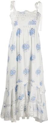 LoveShackFancy Sleeveless Floral Midi Dress