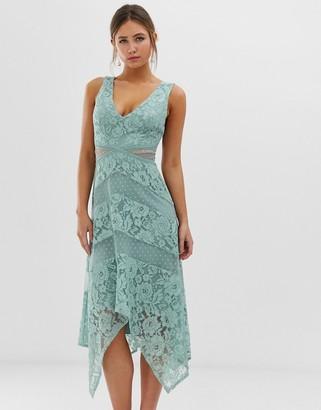 Little Mistress lace insert midi dress with asymmetric hem detail in green