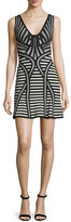 Herve Leger Sleeveless Stripe-Knit Flutter-Hem Dress, Black