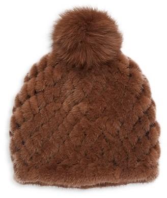 Pologeorgis Knit Mink Fur & Fox Fur Pom-Pom Beanie