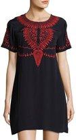 Neiman Marcus Embroidered Short-Sleeve Dress, Navy