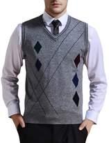 Zicac Men's V-neck Rhombus Knitwear Sweater Vest Waistcoat (S, )