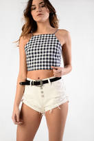 Glamorous Navy Gingham Tie Back Camisole Top