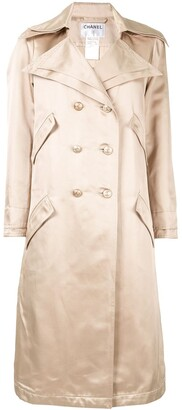 Chanel Pre Owned Double-Breasted Trench Coat
