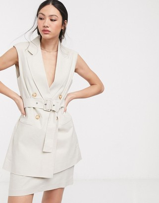 ASOS DESIGN linen sleeveless suit blazer