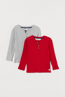 H&M 2-pack ribbed Henley tops