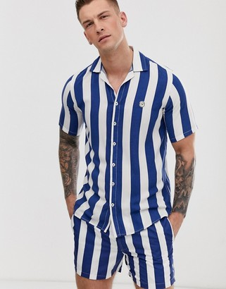 Le Breve co-ord striped short sleeve shirt