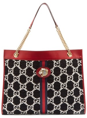Gucci Rajah Large Gg-jacquard Leather Tote Bag - Black Multi