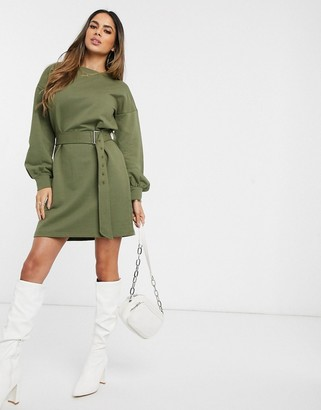 Influence belted sweater dress in khaki