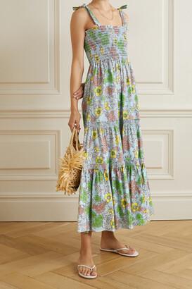 TORY BURCH - Tiered Shirred Floral-print Cotton-blend Poplin Maxi Dress - Blue