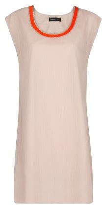 MANGO Beaded Neckline Chiffon Dress