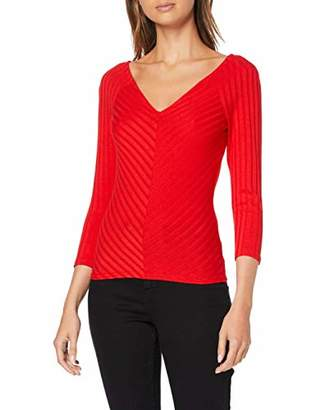 Only Women's Onlgina 3/4 V-Neck Top JRS Long Sleeve Fiery Red, 16 (Size: X-Large)