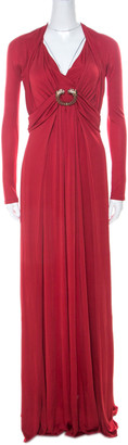 Roberto Cavalli Red Stretch Jersey Long Sleeve Maxi Dress S