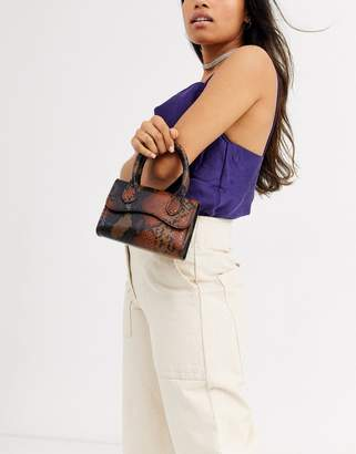 Asos Design DESIGN micro snake grab bag with curved flap and detachable strap-Brown