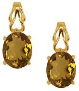 Gem Stone King 3.20 Ct Oval Quartz Gold Plated 925 Silver Earrings