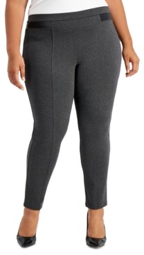 JM Collection Plus Size Faux-Leather Ponte Knit Pants, Created for Macy's
