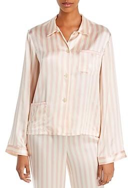Morgan Lane Ruthie Striped-Silk Pajama Shirt