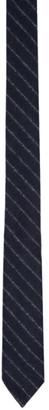 Thom Browne Navy Wool Stripe Classic Tie