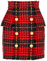 Balmain Button-embellished Tartan Tweed Mini Skirt - Red