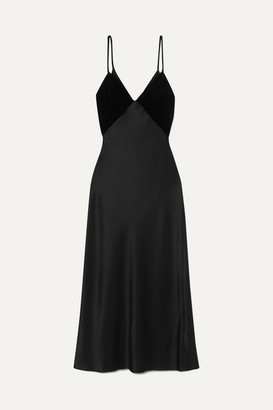 Cushnie Silk-satin And Velvet Midi Dress - Black