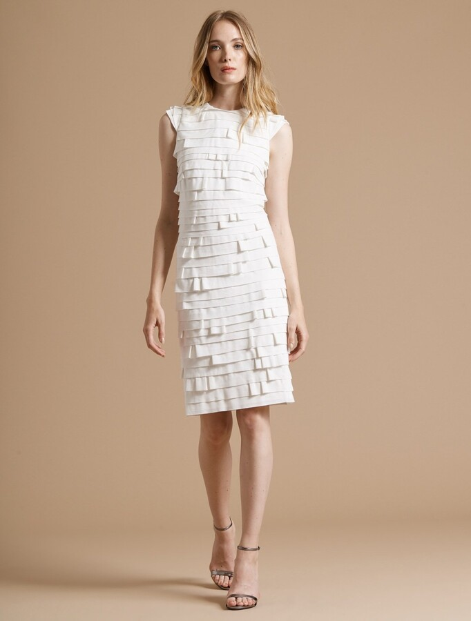 Thumbnail for your product : Halston Cap Sleeve Strip Detail Ponte Knit Dress