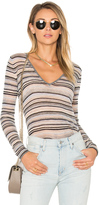 Autumn Cashmere Multi Stripe V Neck Tee