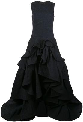 Oscar de la Renta Tiered-Skirt Cloque Gown