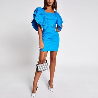 River Island Blue short frill sleeve belted mini dress