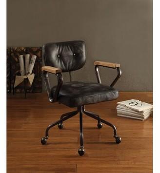 Cornelio Genuine Leather Task Chair 17 Stories Upholstery Color: Black