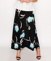 Lbisse Women's Maxi Skirts Black - Black & Aqua Floral Maxi Skirt - Women & Plus