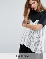 Reclaimed Vintage T-Shirt With Lace Overlay