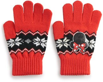 Licensed Character Disney's Minnie Mouse Women's Fairisle Embroidered Gloves