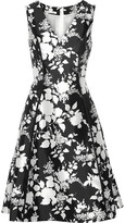 Oscar de la Renta Floral-print Silk And Cotton-blend Dress - Black